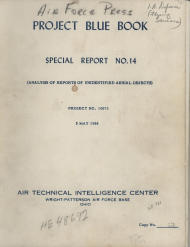 Cover of Project Blue Book, Special Report No. 14
