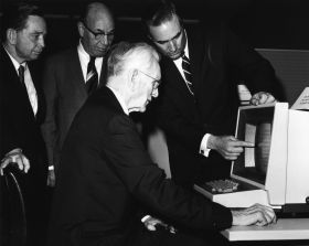 Speaker McCormack at a 1969 Computer Demonstration