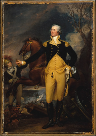 Washington wore not one but two fob seals in this portrait.