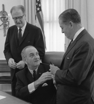 Senator Joseph Montoya of New Mexico with President Lyndon Johnson and Senator Clinton P.  Anderson of New Mexico