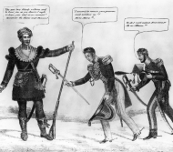 Political Cartoon, Sam Houston and General Antonio López de Santa Anna