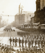 "This 1905 image shows the ""Porto Rican Battalion"" marching in a procession along Pennsylvania Avenue in Washington, D.C. Resident Commissioners <a title=""Federico Degetau"" href=""/People/Detail/12074?ret=True"">Federico Degetau</a> and <a title=""Tulio Larrínaga"" href=""/People/Detail/16721?ret=True"">Tulio Larrínaga</a> prevented the dissolution of the regiment by preserving its funding in House appropriations bills."