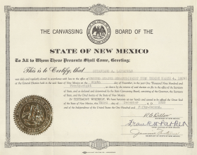 "<a title=""Octaviano Larrazolo"" href=""/People/Detail/15032401304?ret=True"">Octaviano Larrazolo</a>'s three-decade political career in New Mexico culminated with his election to the U.S. Senate in November 1928."