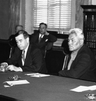 """In this undated photograph, Senator <a title=""""Dennis Chavez"""" href=""""/People/Detail/10875?ret=True"""">Dennis Chavez</a> (left) and a constituent from New Mexico (right) participate in a Senate committee hearing."""