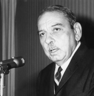 """Luis Muñoz Marín was elected as the first governor of the Commonwealth of Puerto Rico in 1948. His party colleague (and appointed gubernatorial predecessor) <a title=""""Jesús Piñero"""" href=""""/People/Detail/19726?ret=True"""">Jesús Piñero</a> helped to push the Elective Governor Act of 1948 through Congress."""