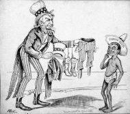 """In this 1898 cartoon, Uncle Sam offers a suit of """"stars and stripes"""" to a young Puerto Rican. The question of Puerto Rico's assimilation and status remained a constant source of political disagreement on the island and in Congress."""