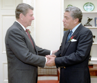 Robert Garcia of New York and President Ronald Reagan