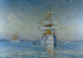 Walter Lofthouse Dean's atmospheric scene commemorated the White Squadron's 1889 stay in Boston.