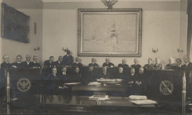 The monumental marine painting loomed over the Naval Affairs Committee in 1919.