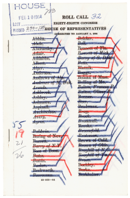 This roll call sheet from February 10, 1964, shows how Members at the beginning of the alphabet voted for the civil rights bill.