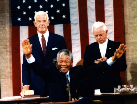 South African President Nelson Mandela Addresses Congress