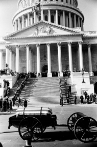 Casket of President John F. Kennedy in front of the U.S. Capitol