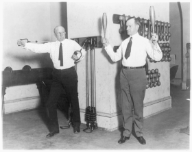 Calvin Coolidge and Frederick Gillett at the House Gym