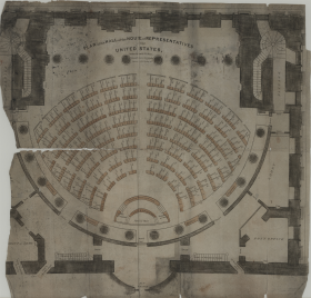 The first lobby in the Capitol, seen as a semicircle near the bottom of this early floorplan, was where most people came to bend the ear of a Representative.