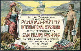 In 1910, San Franciscans sent postcards like this around the country as part of the effort to host the 1915 Panama-Pacific International Exhibition. The fair included new technologies like a transcontinental phone line, color photography and the latest developments in aviation, and attracted over 19 million visitors.