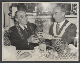 Speaker William Bankhead and Delegate Samuel King at a Hawaiian hoolaulea in the Capitol