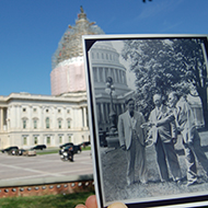 Then and Now photo of horseshoes game practice at the Capitol