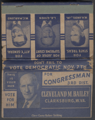 Cleveland Monroe Bailey Campaign Matchbook