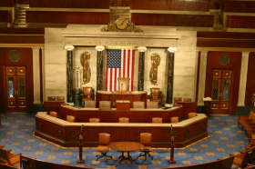 The rostrum and well of the House Chamber