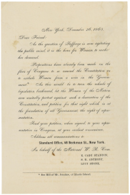 Women's Suffrage Petition, 1865