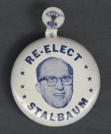 "This metal tab was from dairy farmer and Wisconsin Representative <a title=""Lynn Stalbaum's"" href=""/People/Detail/22105?ret=True"">Lynn Stalbaum's</a> unsuccessful re-election campaign in 1966."