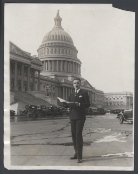 House Page Adolph Turner Sings Outside the Capitol
