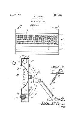 Gilbert Gates's Patent for a Scraping Implement