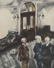 Fortune Magazine's satirical illustration of Members behind the rostrun in the Speakers' lobby, ca. 1932.