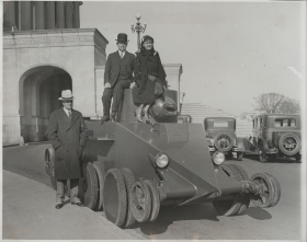 John G. Cooper, Randolph Perkins, and Edith Nourse Rogers Examine a Tank at the Capitol