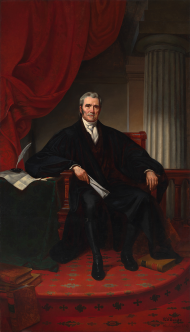 """This portrait of John Marshall as Chief Justice was painted in 1880, 45 years after Marshall's death. Marshall served one term in the House during the <a title=""""6th Congress"""" href=""""/Congressional-Overview/Profiles/6th/"""">6th Congress</a>."""