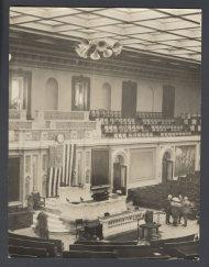 Photograph of the House Chamber in 1922 with ten trumpet-shaped loudspeakers.