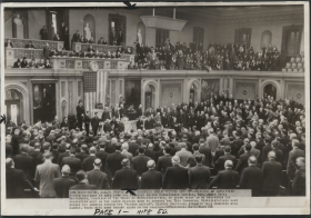 "Photograph of the House Chamber in 1939 with ""flying coffin"" speakers."
