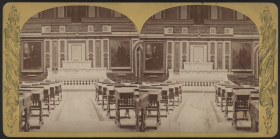 This stereoview from the post-Reconstruction era was designed to be layered and viewed in 3D. It gives the perspective of a Member walking into the Chamber towards the marble rostrum.