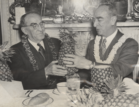 "Like his immediate predecessor Victor S. K. Houston, Delegate <a href=""/People/Detail/16344"" title=""Samuel Wilder King"">Samuel Wilder King</a> made an effort to bring Hawaiian culture to the Capitol. On Christmas Eve 1939, King hosted a luncheon in the Speaker's Dining Room with <a href=""/People/Office/Speakers-Intro/"" title=""Speaker"">Speaker </a><a href=""/People/Detail/7674"" title=""William Bankhead"">William Bankhead</a> as the guest of honor."