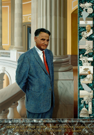 Dalip Saund was the first Asian American to serve as a full Representative in Congress. His portrait includes Saund's own quote along the bottom and a vertical panel on the right outlining significant events and inspirations in his life.