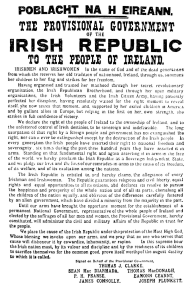 Irish republicans issued this proclamation in 1916 claiming the right to form an independent Irish republic.