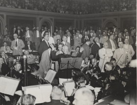 "Inviting the U.S. Marine Band onto the House Floor to celebrate the end of a Congress became a sort of tradition. The image above shows the sine die adjournment of the <a title=""73rd Congress"" href=""/Congressional-Overview/Profiles/73rd/"">73rd Congress</a> in 1934."