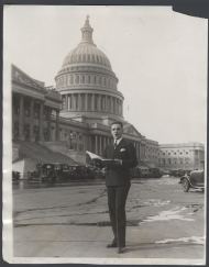 "House Page by day, Adolph Turner transformed into a singer with the Washington Opera Company by night. He sang in productions of ""Rigoletto,"" ""La Boheme,"" and ""Romeo and Juliet,"" among other operas. Holding sheet music in this image, Turner belted out a tune on the East Front of the Capitol in 1928."