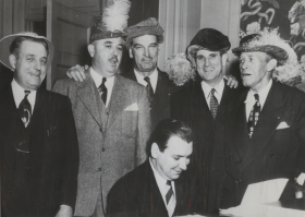 "Staged at Washington, D.C.'s Constitution Hall in January 1951, the VIP Original Amateur Hour gave five Representatives the opportunity to stretch their vocal chords to benefit the U.S.O. Above, <a title=""Toby Morris"" href=""/People/Detail/18569?ret=True"">Toby Morris</a>, <a title=""Prince Preston"" href=""/People/Detail/19917?ret=True"">Prince Preston</a>, <a title=""Frank Wilson"" href=""/People/Detail/23933?ret=True"">Frank Wilson</a>, <a title=""Oren Harris"" href=""/People/Detail/14593?ret=True"">Oren Harris</a>, and <a title=""Percy Priest"" href=""/People/Detail/19942?ret=True"">Percy Priest</a> (pictured left to right) practice their rendition of an aria from the opera ""Rigoletto,"" which included the phrase, ""We're all from Congress 82 and we wonder what we can do."""