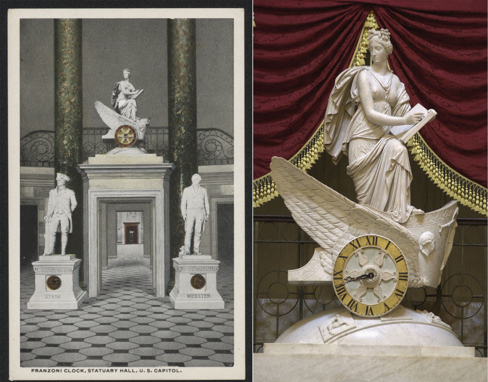The <i>Car of History</i> clock appears in a scenic postcard from around 1920, above the north door of Statuary Hall.