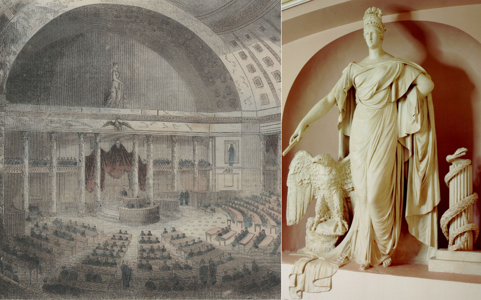On the right,<i> Liberty and the Eagle</i>, can be seen in its original context above the Speaker's rostrum in this 1853 print of the Old Hall of the House (left).