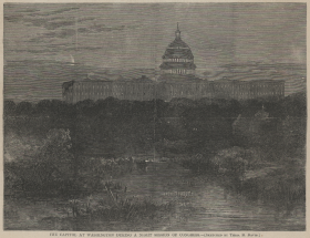 This nocturnal view of the Capitol from the west was originally sketched for <i>Harper's Weekly</i> by Theodore Davis. Members of the House frequently work late into the night.