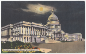 The Capitol takes on a new look under the full moon in this 1940s postcard.