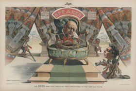 1898 Political cartoon depicting Thomas Brackett Reed as a bird on the Speaker's chair.