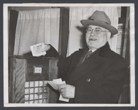 Adolph Sabath Dropping His Ballot into the Box