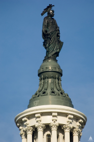 The peak of the Statue of Freedom towers 288 feet over the East Front Plaza.