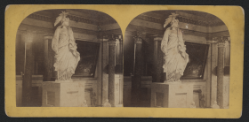 The plaster cast of the Statue of Freedom—the bronze version of which caps the Capitol dome—figures prominently in this stereoview of Statuary Hall.
