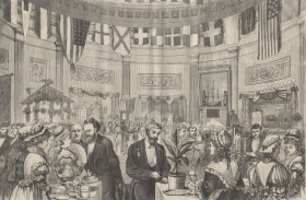 1874 print of the Capitol's tea-drinking party.
