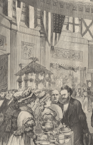 Detail from the print of the Capitol tea-drinking party in 1874.