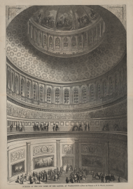 1861 print of the Capitol Rotunda on a regular day of tourism.
